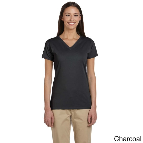 Women's Organic Cotton Short Sleeve V-neck T-shirt (Large/ Iris)(As Is Item)