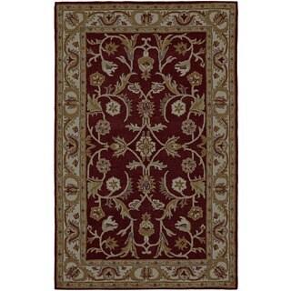Paragon Burgundy/Ivory Wool Rug (2' x 4')