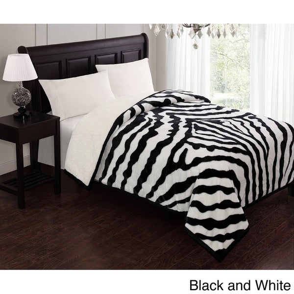 Victoria Borrego Animal Print Sherpa Queen Blanket