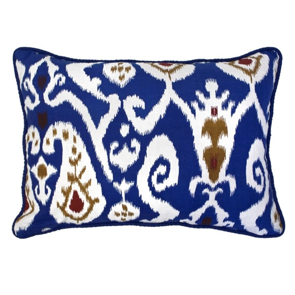 12 x 16-inch Blue Ikat Baby Pillow (India)