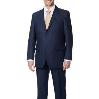 Angelo Rossi Men's Blue 2-button Tonal Stripe Micro Tech Suit