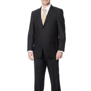 Angelo Rossi Men's Black 2-button Tonal Stripe Micro Tech Suit