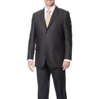 Angelo Rossi Men's Charcoal 2-button Tonal Stripe Micro Tech Suit