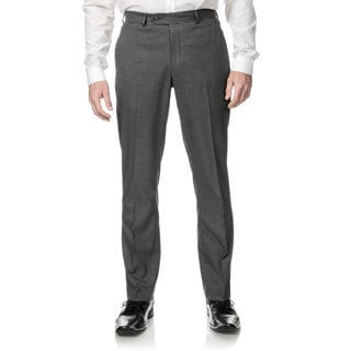 Perry Ellis Men's Slim Fit Grey Sharkskin Flat Front Dress Pants