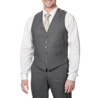Perry Ellis Men's Medium Grey Sharkskin Suit Separate Vest