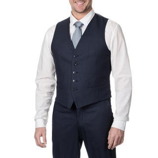 Perry Ellis Men's Navy Sharkskin Suit Separate Vest