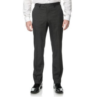 Perry Ellis Men's Slim Fit Medium Grey Stripe Flat Front Dress Pants