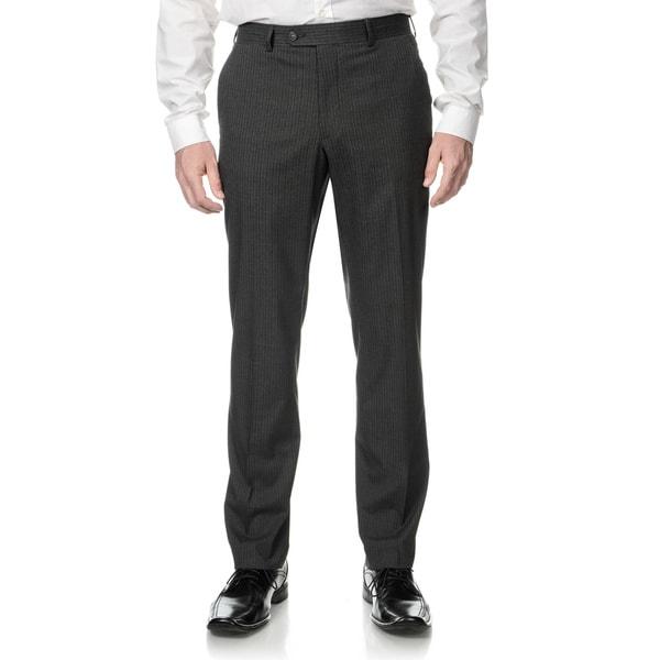Perry Ellis Men's Slim Fit Medium Grey Stripe Flat Front Dress Pants