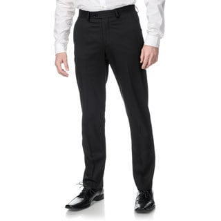 Perry Ellis Men's Slim Fit Black Flat Front Dress Pants