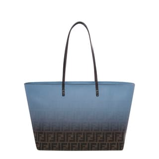 Fendi Blue and Tobacco Two-tone Zucca Roll Tote