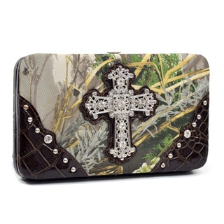 Realtree Rhinestone Cross Camouflage Framed Wallet