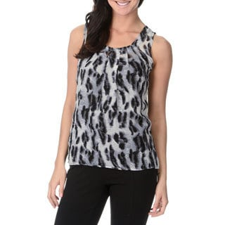 Thesis Women Animal Print Keyhole Back Blouse