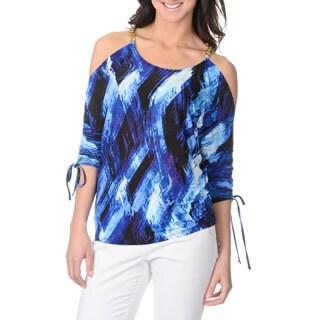 Isabella Rodriguez Women's Blue Geometric Print 3/4 Dolman Sleeve Top