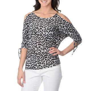 Isabella Rodriguez Women's Black/ Grey Animal Print 3/4 Dolman Sleeve Top
