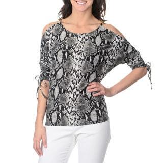 Isabella Rodriguez Women's Black/ Grey Reptile Print 3/4 Dolman Sleeve Top