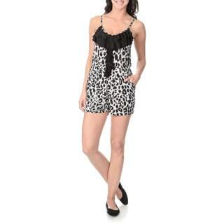 Sweet Juliet Women's Leopard Print Ruffle Front Romper