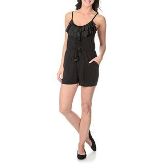 Sweet Juliet Women's Black Ruffle Front Romper