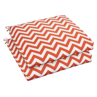 Bristol 20-inch Indoor/ Outdoor Orange Chevron Chair Cushion Set