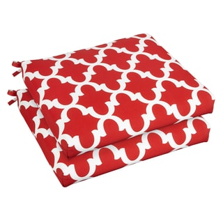 Bristol 19-inch Indoor/ Outdoor Scalloped Red Chair Cushion Set