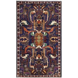 Semi-Antique Afghan Hand-Knotted Tribal Balouchi Navy/ Brown Wool Rug (2'8 x 4'5)