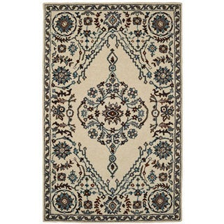 Paragon Ivory/ Grey Wool Rug (8' x 11')