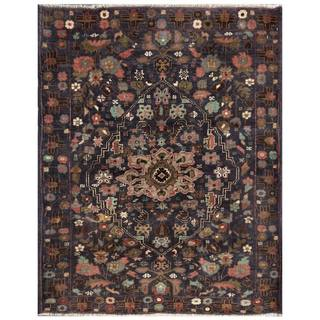 Semi-Antique Afghan Hand-Knotted Tribal Balouchi Navy/ Pink Wool Rug (3'3 x 4'2)