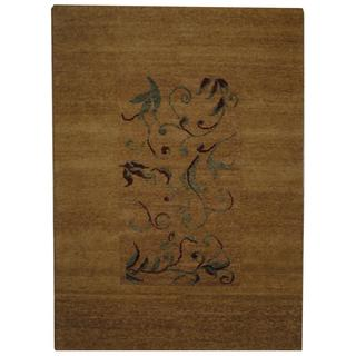 Indo Hand-knotted Tibetan Beige/ Ivory Wool Rug (5'2 x 7'1)