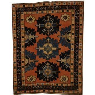 Afghan Hand-knotted Kazak Rust/ Blue Wool Rug (4'10 x 6'5)
