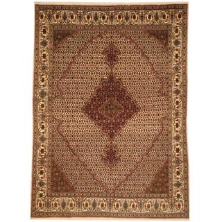 Persian Hand-knotted Tabriz Ivory/ Olive Wool Rug (5'8 x 7'9)