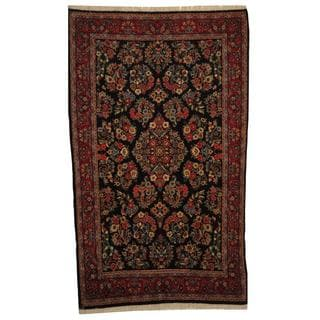 Persian Hand-knotted Sarouk Navy/ Red Wool Rug (4'6 x 7'4)