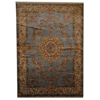 Indo Hand-knotted Kashmir Light Blue/ Gold Silk Rug (5'1 x 7'1)
