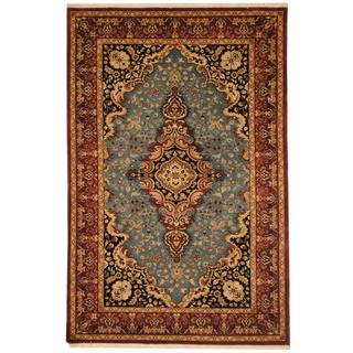 Pak Persian Hand-knotted Tabriz Light Blue/ Rust Wool Rug (5'2 x 8')