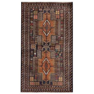 Herat Oriental Afghan Hand-knotted Semi-antique Tribal Balouchi Brown/ Navy Wool Rug (2'6 x 4'5)