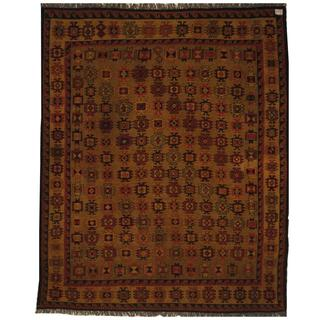 Afghan Hand-woven Soumak Light Brown/ Beige Wool Rug (5' x 6'3)