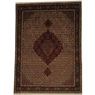 Herat Oriental Persian Hand-knotted Tabriz Fish Ivory/ Black Wool Rug (4'8 x 6'6)