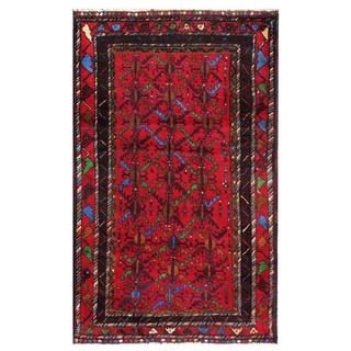 Semi-Antique Afghan Hand-Knotted Tribal Balouchi Red/ Maroon Wool Rug (2'10 x 4'7)