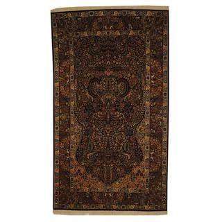 Pak Persian Hand-knotted Tabriz Tree of Life Navy/ Rust Wool Rug (5' x 8'6)