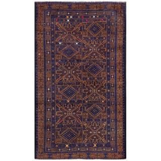 Semi-Antique Afghan Hand-Knotted Tribal Balouchi Navy/ Brown Wool Rug (2'8 x 4'8)