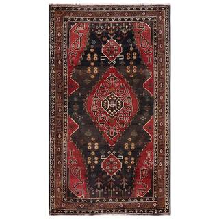 Semi-Antique Afghan Hand-Knotted Tribal Balouchi Navy/ Rust Wool Rug (2'6 x 4'8)