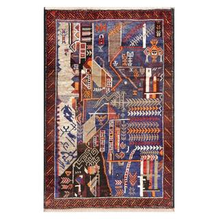 Herat Oriental Semi-antique Afghan Hand-knotted Tribal Balouchi Navy/ Red Wool Rug (2'9 x 4')