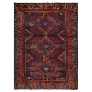 Semi-Antique Afghan Hand-Knotted Tribal Balouchi Navy/ Maroon Wool Rug (2'9 x 3'10)