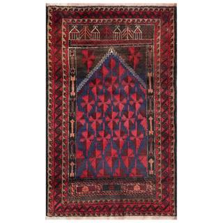 Semi-Antique Afghan Hand-Knotted Tribal Balouchi Navy/ Red Wool Rug (2'7 x 4')