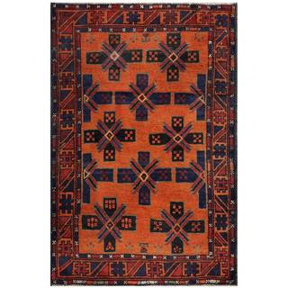 Semi-Antique Afghan Hand-Knotted Tribal Balouchi Rust/ Navy Wool Rug (2'10 x 4'3)