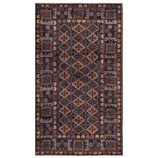 Herat Oriental Semi-antique Afghan Hand-knotted Tribal Balouchi Navy/ Brown Wool Rug (2'9 x 4'9)