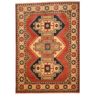 Afghan Hand-knotted Kazak Red/ Ivory Wool Rug (5'8 x 8')