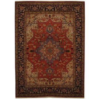 Persian Hand-knotted Tabriz Rust/ Navy Silk and Wool Rug (5'1 x 6'10)