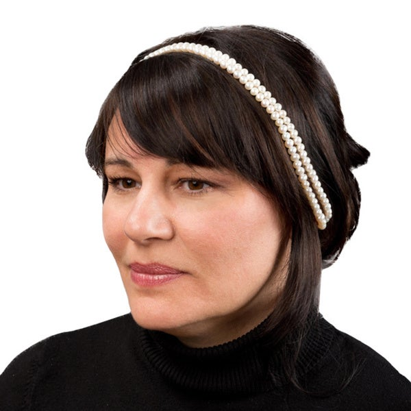 Pearlyta White Freshwater Pearl 2-row Wedding Headband (6-7mm)