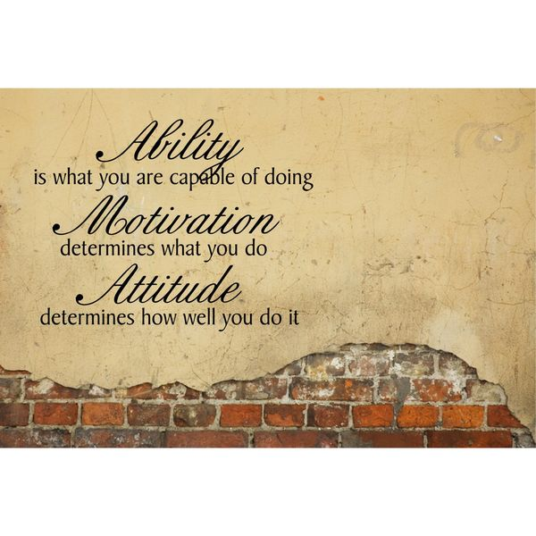 Ability, Motivation, Attitude Inspirational Vinyl Wall Art