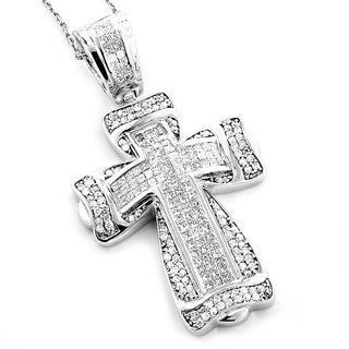 14k White Gold 2 1/3ct TDW Pave Diamond Cross Pendant (H-I, SI1-SI2)