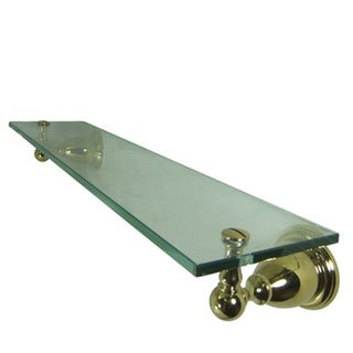 Polished Brass Bathroom Glass Shelf - Gold